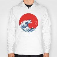 kaiju Hoodies featuring Hokusai kaiju by Marco Mottura - Mdk7