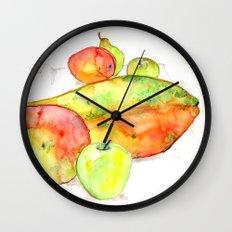 watercolor fruits Wall Clock