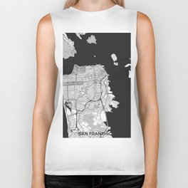 San Francisco Map Gray Biker Tank