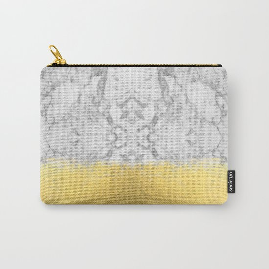 Marble with Brushed Gold - Gold foil, gold, marble, black and white, trendy, luxe, gold phone Carry-All Pouch