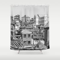 seoul Shower Curtains featuring Seoul Rooftops by Jennifer Stinson
