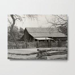 Old Barn and Rail Fence Metal Print