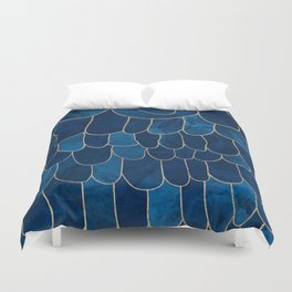 Stratosphere Sapphire // Abstract Blue Flowing Gradient Gold Foil Cloud Lining Water Color Decor Duvet Cover