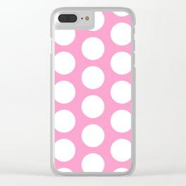 White circles on pink Clear iPhone Case