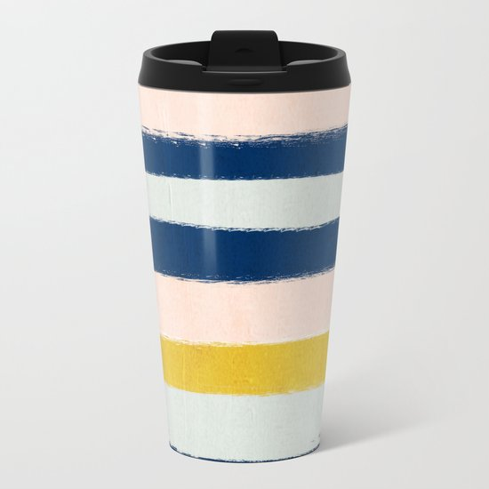 Esther - navy mint gold painted stripes brushstrokes minimal modern canvas art painting Metal Travel Mug