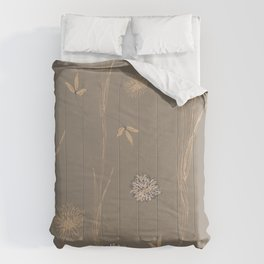 Contemporary Botanical Flowers and Leaves Comforters