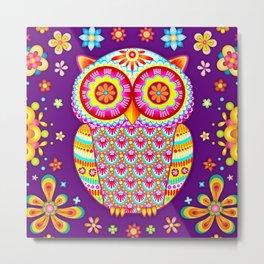 Colorful Owl Art Metal Print