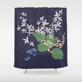 Flowers And Starry Sky Shower Curtain
