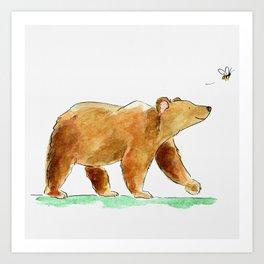 Bear & Bee Watercolor Art Print