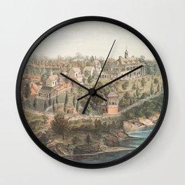 Vintage Pictorial Map of Mount Vernon VA (1859) Wall Clock