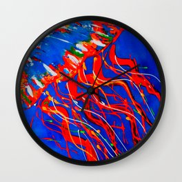 Red Jellyfish Wall Clock