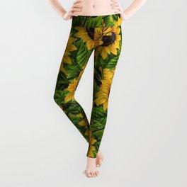 Vintage & Shabby Chic - Sunflowers Flowe Garden Leggings