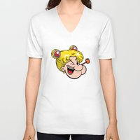 popeye V-neck T-shirts featuring Popeye the Sailor Moon by unluckyxiii