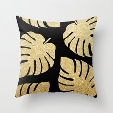 Gold Glitter Monstera Leaves Pattern Throw Pillow