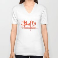 buffy V-neck T-shirts featuring Buffy the Hoodrat Slayer by Domonique Brown