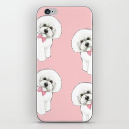 Bichon Frise pink bows christmas holiday themed pattern print pet friendly dog breed gifts iPhone Skin