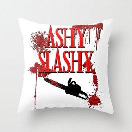 Ashy Slashy Chainsaw Throw Pillow