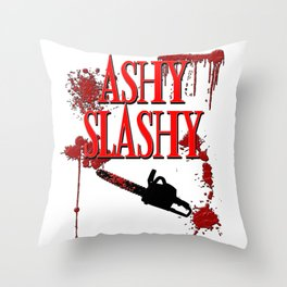 Ashy Slashy Chainsaw Throw Pillow