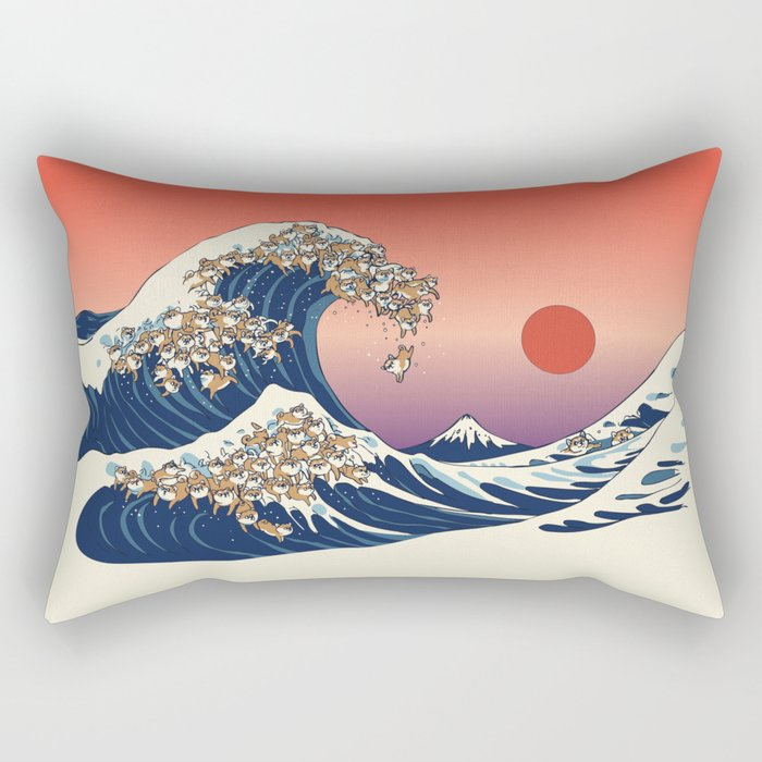 The Great Wave of Shiba Inu Rectangular Pillow