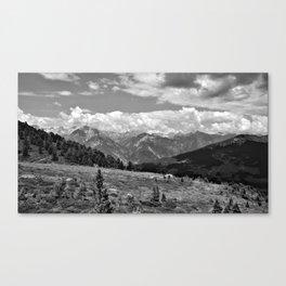 panorama cloudy alps serfaus fiss ladis tyrol austria europe black white Canvas Print