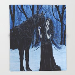Midnight Travelers Gothic Fairy and Unicorn Throw Blanket