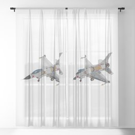 F-16 Military Fighter Jet Internal Mechanics Sheer Curtain