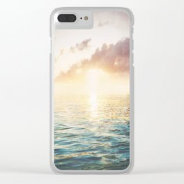 Bright Blue Horizons - red sky Clear iPhone Case
