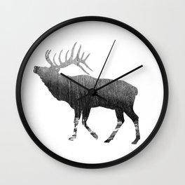 Elk Snowing Forest Wall Clock