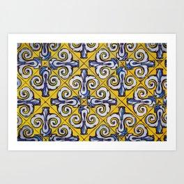 Ornament on tile drawing #Terrazzo #Blobs Art Print