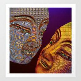 two buddhas Art Print