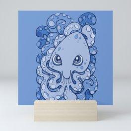 Happy Octopus Squid Kraken Cthulhu Sea Creature - Baby Blue Mini Art Print