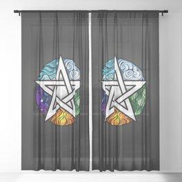 Bright Pentagram on Black Background Sheer Curtain