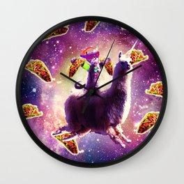 Rave Space Cat On Llama Unicorn - Taco Wall Clock
