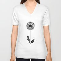 dandelion V-neck T-shirts featuring Dandelion by emegi