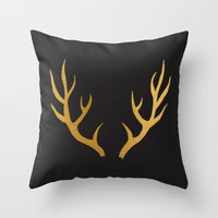 antler Throw Pillows featuring ANTLER by crisunplugged