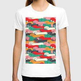 dachshund pattern- happy dogs T-shirt