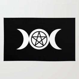 Goddess and Pentacle Symbols - White on Black Rug
