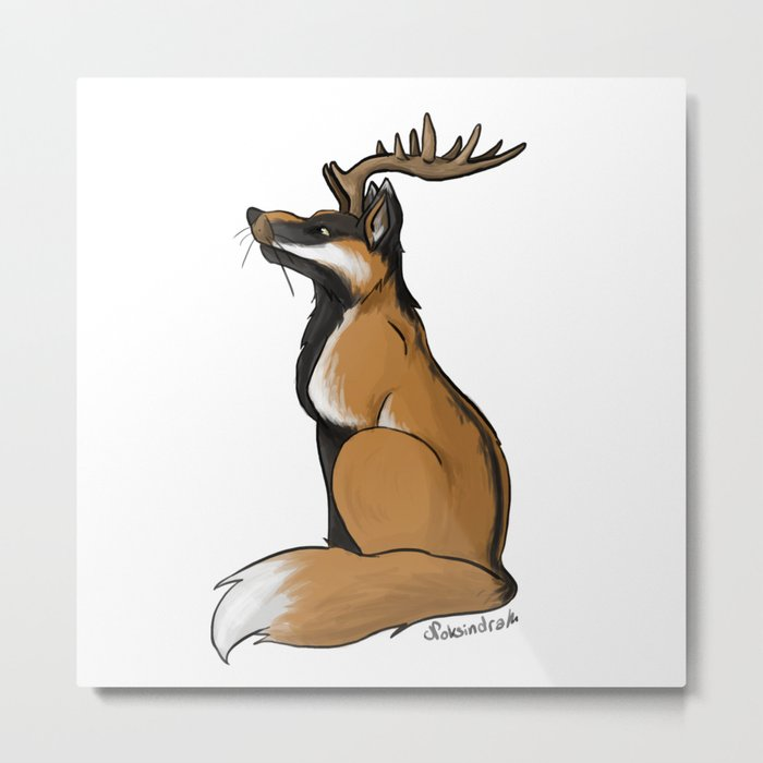 Antlered Fox Metal Print