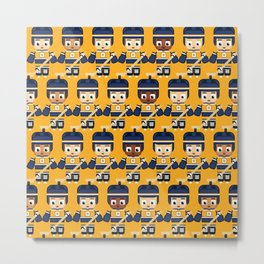 Super cute sports stars - Ice Hockey Yellow and Blue Metal Print