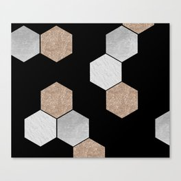 Geometric marble and rose gold on black Canvas Print