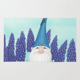 gnome with cerulean warbler and grape hyacinths Rug