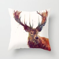 hello Throw Pillows featuring Red Deer // Stag by Amy Hamilton