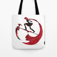 rwby Tote Bags featuring RWBY - Ruby Red and Crescent Rose by Justine Shih