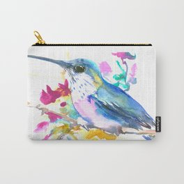 Turquoise Hummingbird and Purple Pink Flowers Carry-All Pouch