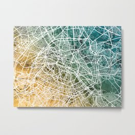 Paris France City Street Map Metal Print