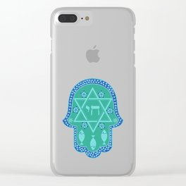 Hamsa for blessings - david shield - turqoise Clear iPhone Case