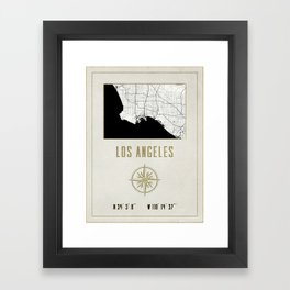 Los Angeles - Vintage Map and Location Framed Art Print