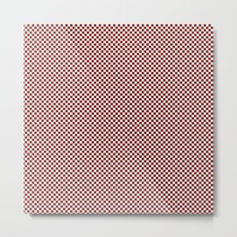 Vintage New England Shaker Barn Red and White Milk Paint Small Square Checker Pattern Metal Print