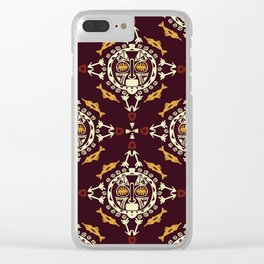 pattern with Tribal mask ethnic on dark Clear iPhone Case