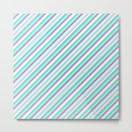 Deep Sea Green Turquoise Violet Inclined Stripes Metal Print